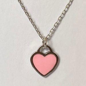 Jewelry - 💗925 Silver pink enamel heart love necklace